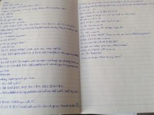 Learning Korean sentence fillers.